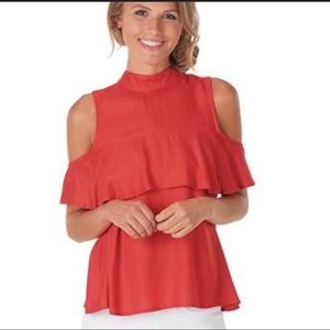 NWT Red Holiday Flounce Ruffle Cold Shoulder Top L